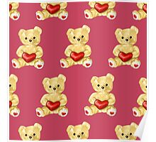 Cute Teddy Bear Pink Pattern Poster