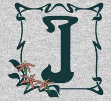 Fancy art nouveau letter J, flower One Piece - Long Sleeve