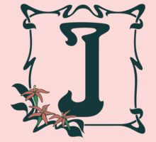 Fancy art nouveau letter J, flower One Piece - Short Sleeve