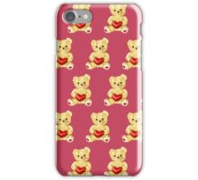 Cute Teddy Bear Pink Pattern iPhone Case/Skin