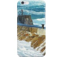 Sennen Cove, Storm Surge Over The Harbour Wall iPhone Case/Skin