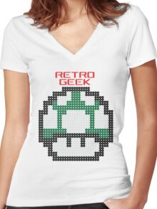 Retro Geek - One Up Women's Fitted V-Neck T-Shirt