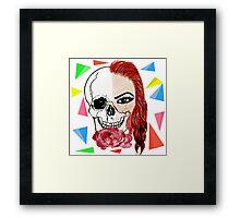 Abstract half skull half face Framed Print