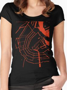 Amsterdam city map engraving Women's Fitted Scoop T-Shirt