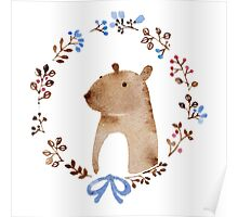Small ear bear in a wreath Poster