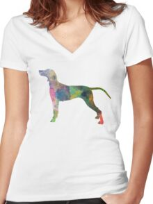 Weimaraner in watercolor Women's Fitted V-Neck T-Shirt