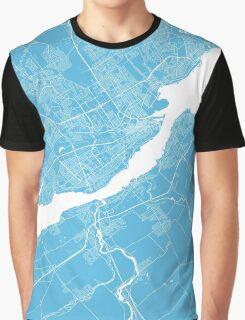 Quebec map blue Graphic T-Shirt