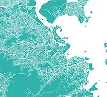 Rio map turquoise by mapsart
