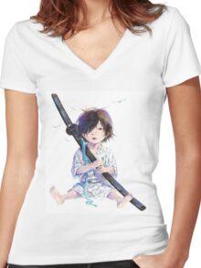 Little Samurai Women's Fitted V-Neck T-Shirt