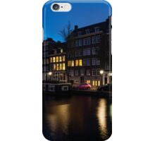Magical Amsterdam Night - Charming Little Pink Car on the Canal Bank iPhone Case/Skin