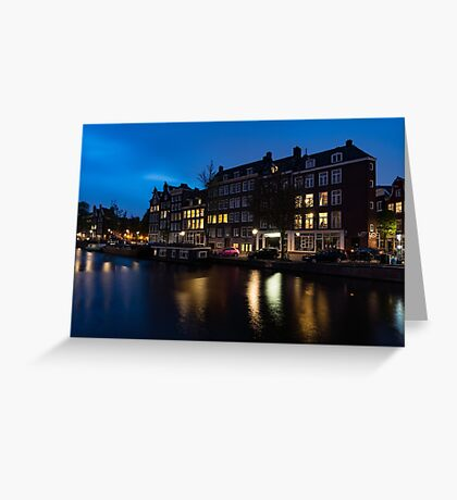 Magical Amsterdam Night - Charming Little Pink Car on the Canal Bank Greeting Card