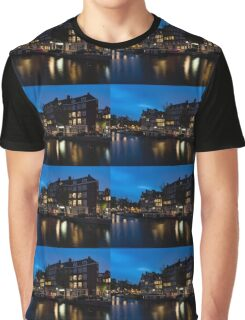 Magical Amsterdam Night - Charming Little Pink Car on the Canal Bank Graphic T-Shirt
