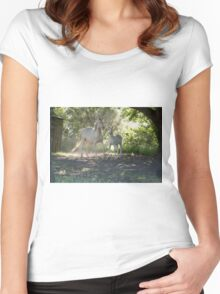 Cremello mare and foal 1 Women's Fitted Scoop T-Shirt
