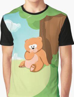 Cute Bear Relaxing Under a Tree Graphic T-Shirt