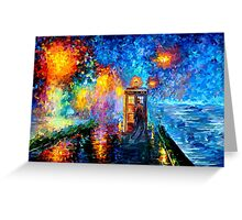 Time Traveller lost in the strange city art painting Greeting Card