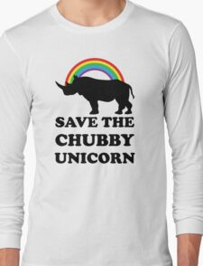 Save The Chubby Unicorn, Funny Rhino Long Sleeve T-Shirt