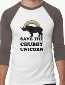 Save The Chubby Unicorn, Funny Rhino Men's Baseball ¾ T-Shirt