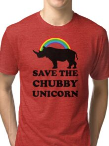 Save The Chubby Unicorn, Funny Rhino Tri-blend T-Shirt
