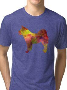 American Akita in watercolor Tri-blend T-Shirt