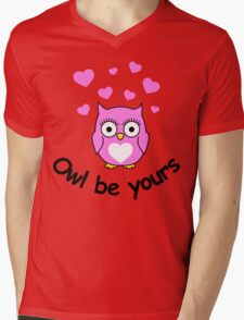 Owl be yours with hearts Mens V-Neck T-Shirt