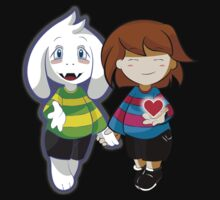 Undertale Asriel and Frisk Together  One Piece - Short Sleeve