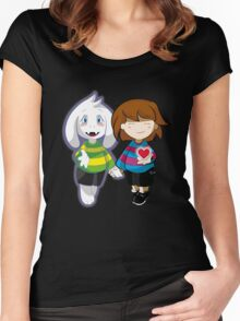Undertale Asriel and Frisk Together  Women's Fitted Scoop T-Shirt