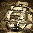 A digital painting of A Clipper Ship in Full Sail by Dennis Melling