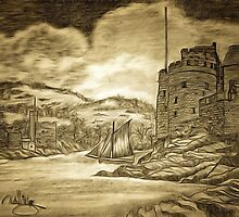 A digital painting of Dartmouth and Kingswear Castles, Devon by Dennis Melling