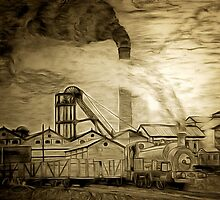 A digital painting of Frickley Colliery, South Elmsall, Yorkshire early 20th century by Dennis Melling