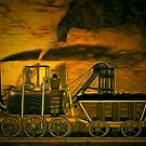 A digital painting of A Blenkinsop Locomotive at Frickley Colliery in Yorkshire by Dennis Melling