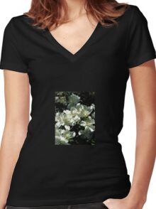 White Flowers Women's Fitted V-Neck T-Shirt