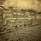 A digital painting of The Last of the British Rail Steam Locomotives by Dennis Melling
