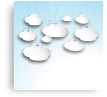 Clouds on a string in Light  Blue Metal Print