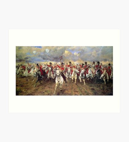 Scotland Forever! 1881, Battle of Waterloo, Lady Butler, Charge of the Royal Scots Greys Art Print