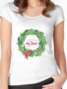 Christmas wreath with a bow, pine cones and rowan Women's Fitted Scoop T-Shirt