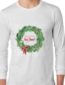 Christmas wreath with a bow, pine cones and rowan Long Sleeve T-Shirt