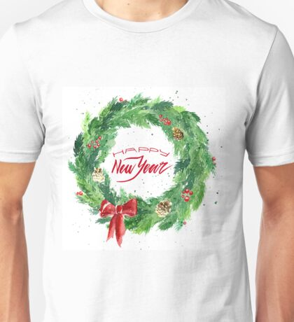 Christmas wreath with a bow, pine cones and rowan Unisex T-Shirt