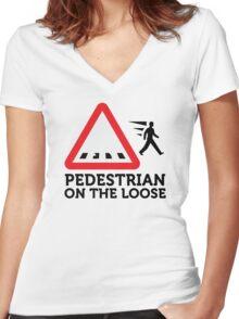 Caution: Freewheeling pedestrians! Women's Fitted V-Neck T-Shirt