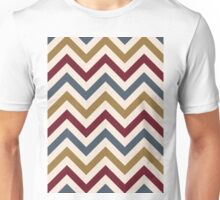 Funky Zigzag Pattern Gold Red Blue Cream Unisex T-Shirt