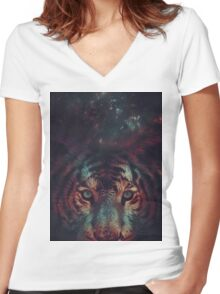 Galaxy Tiger Women's Fitted V-Neck T-Shirt