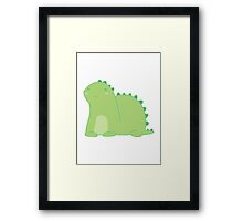 Happy Green Dinosaur Framed Print