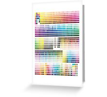 Colour Chart with codes Greeting Card
