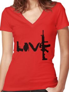 Love weapons - version 1 - black Women's Fitted V-Neck T-Shirt