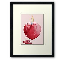 love heart shaped burning candle romantic Framed Print