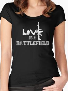 Love is a battlefield - version 2 - white Women's Fitted Scoop T-Shirt