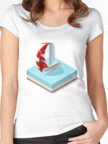 Sail Boat Set Women's Fitted Scoop T-Shirt