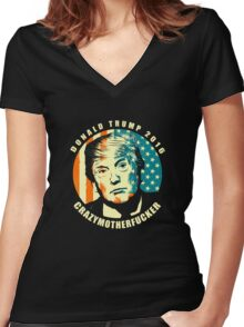 DONALD TRUMP POSTER Women's Fitted V-Neck T-Shirt