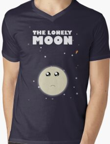 The lonely moon Mens V-Neck T-Shirt