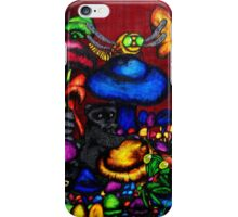 raccoon in a mushroom patch iPhone Case/Skin