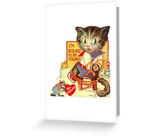 Vintage Valentine Bondage Cat Greeting Card